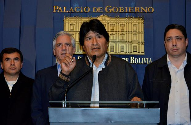Bolivia's President Evo Morales speaks during a news conference at the presidential palace in La Paz, Bolivia, August 26, 2016. Courtesy of Bolivian Presidency/Handout via REUTERS