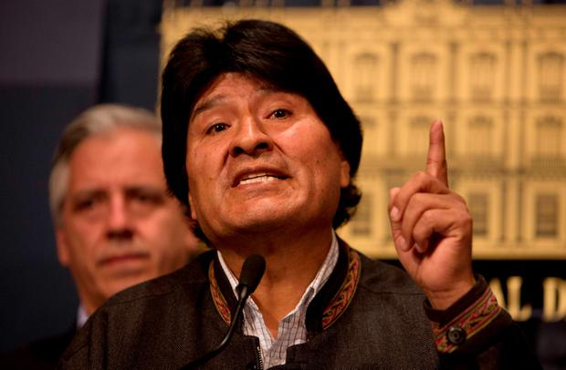 Bolivia's President Evo Morales speaks during a press conference at the government palace in La Paz, Bolivia Friday, Aug. 26, 2016. (AP Photo/Juan Karita)
