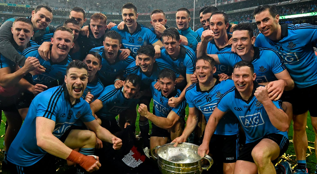 Dublin players celebrate with the Sam Maguire cup last year Picture: Stephen McCarthy / SPORTSFILE