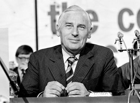 Peter Barry at the Fine Gael Ard Fheis in 1981