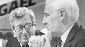 Peter Barry with party leader Garret FitzGerald at the 1986 Ard Fheis. PIC JOHN CARLOS