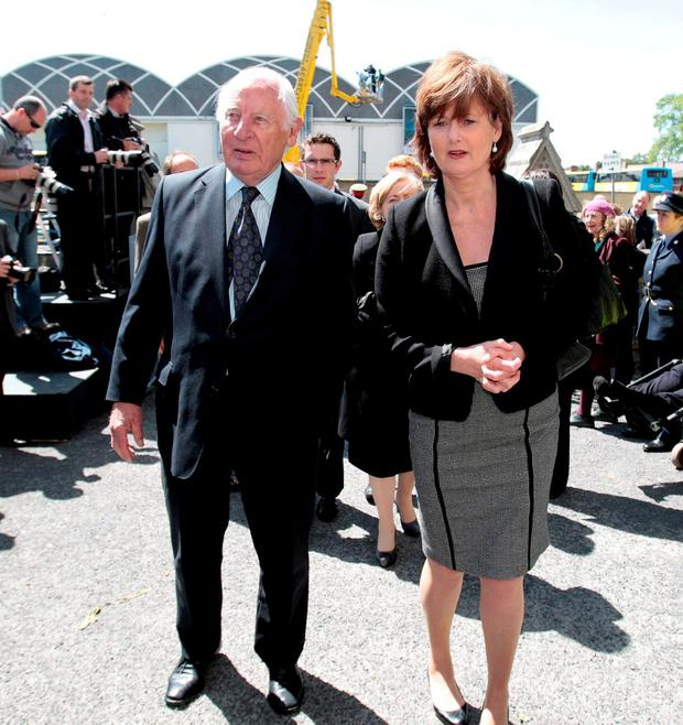 Peter Barry and his daughter, Deirdre Clune, who is now an MEP, attending the funeral of Dr FitzGerald in Dublin in 2011. Pic Tom Burke