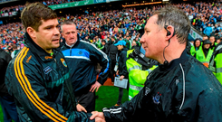 Eamonn Fitzmaurice and Jim Gavin at the end of last year's final Picture: Stephen McCarthy / SPORTSFILE