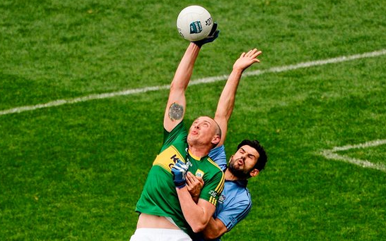 There are question marks about Dublin's ability to contest the high ball and Kerry's Kieran Donaghy is sure to test them tomorrow, like he did against Cian O'Sullivan in this year's league final Picture: Dáire Brennan / SPORTSFILE