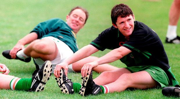 Robbie Keane alongside his Ireland U18s manager Brian Kerr in 1998
