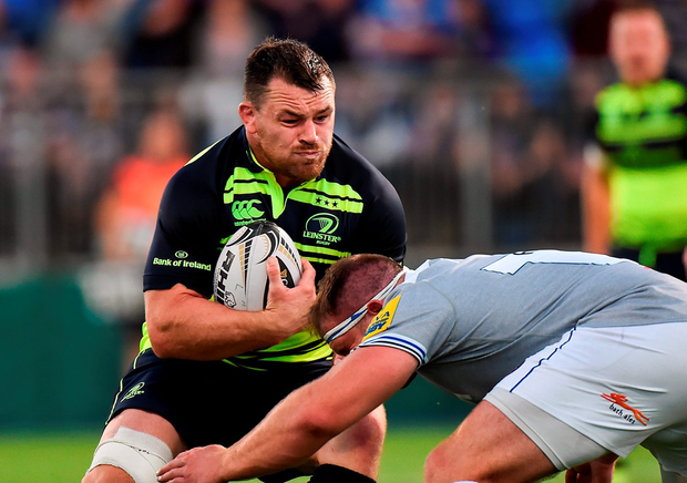 Leinster's Cian Healy tackled by Henry Thomas of Bath during their pre-season friendly at Donnybrook Stadium. Photo by Matt Browne/Sportsfile