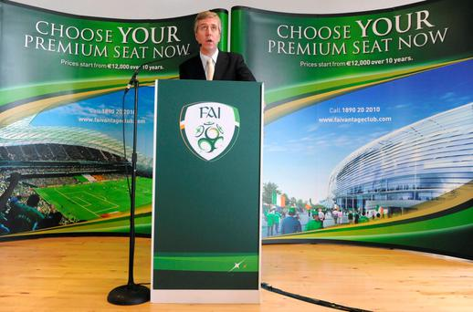 FAI chief executive John Delaney speaking at the launch of the Vantage Club. Photo: Pat Murphy/ SPORTSFILE