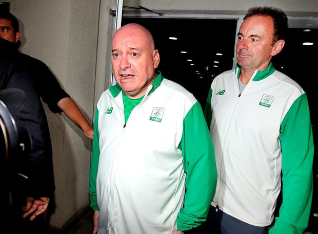 Stephen Martin, OCI chief executive (right), and Kevin Kilty, OCI chef de mission (left), leaving Police City after giving a deposition in Rio de Janeiro. Photo: Steve Humphreys