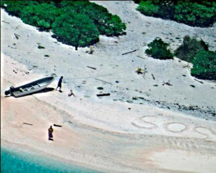 A pair of stranded mariners signal for help as a U.S. Navy P-8A Poseidon aircraft crew from Patrol Squadron (VP) 8 flies over in support of a Coast Guard search and rescue mission on an uninhabited island in Micronesia, Hawaii. (U.S. Navy via AP)