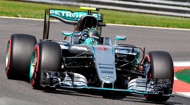 Mercedes driver Nico Rosberg of Germany steers his car during qualifying at the Belgian Formula One Grand Prix circuit in Spa-Francorchamps
