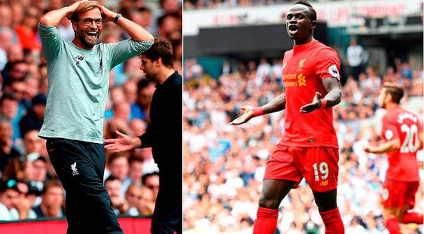 Jurgen Klopp and (right) Sadio Mane had a goal disallowed
