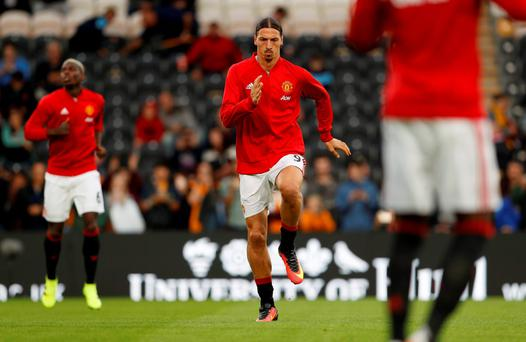 Manchester United's Zlatan Ibrahimovic warms up before the match