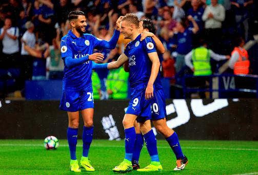 Leicester City's Jamie Vardy celebrates scoring his side's first goal
