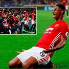 Marcus Rashford celebrates his last-gasp winner