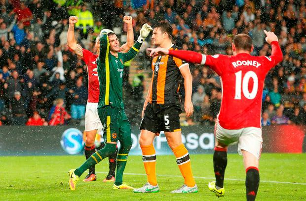 Hull City goalkeeper Eldin Jakupovic looks dejected after Manchester United's Marcus Rashford (not pictured) scores