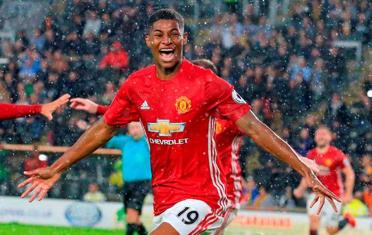 Marcus Rashford celebrates his injury-time winner for Manchester United yesterday. Photo: Lindsey Parnaby