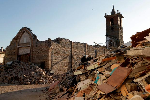 The remains of the church of the village of Santi Lorenzo e Flaviano. (AP Photo/Andrew Medichini)