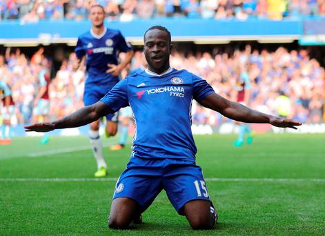 Victor Moses celebrates after putting the finishing touch to Chelsea's victory. Photo: Eddie Keogh