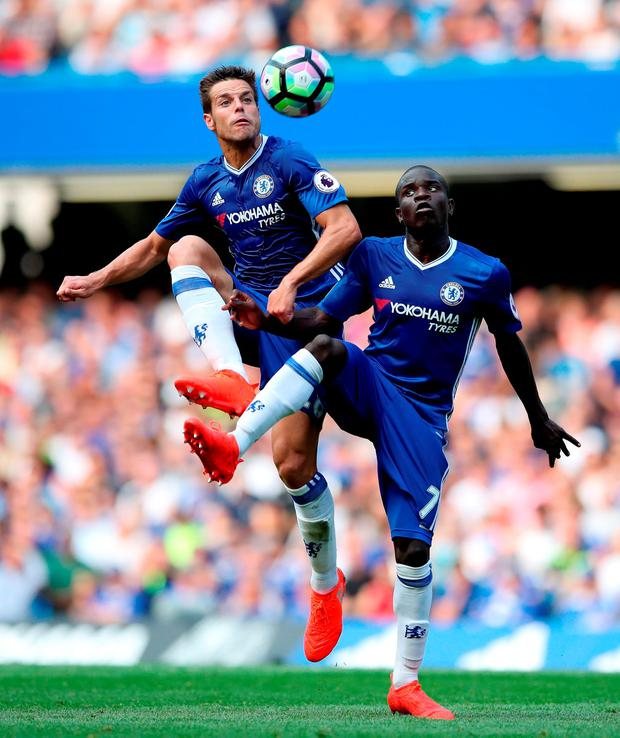 Chelsea's Cesar Azpilicueta (left) and N'Golo Kante (right) both attempt to control the ball. Photo: Nick Potts