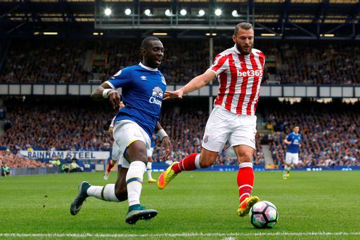 Everton's Yannick Bolasie in action with Stoke City's Erik Pieters. Photo: Ed Sykes
