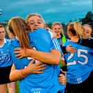 Martha Byrne of Dublin, behind, celebrates with team-mate Deidre Murphy after the TG4 Ladies Football All-Ireland Senior Championship Semi-Final game between Dublin and Mayo