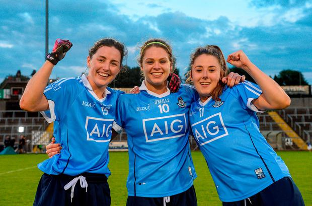 Dublin players, from left, Lyndsey Davey, Noelle Healy and Siobhán Woods celebrate