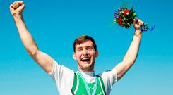 TOUGH: Irish rower Paul O'Donovan struck gold in Rotterdam yesterday to add to the Olympic silver medal he won in Rio with his brother Gary. Locals in his native Skibbereen are preparing a party for the world champion. Photos: Herman Dingler/Sportsfile