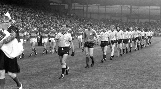 24 September 1978; Tony Hanahoe, Dublin captain leads his team during the pre match parade, Kerry v Dublin, All Ireland Football Final, Croke Park, Dublin Picture credit: Connolly Collection / SPORTSFILE