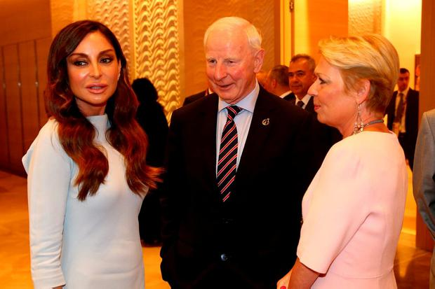 Pat Hickey chatting with the First Lady of Azerbaijan and Chair of the Baku 2015 European Games Organising Committee, Mehriban Aliyeva. (Photo by Harry Engels/Getty Images for BEGOC)