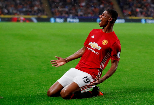 Manchester United's Marcus Rashford celebrates scoring their first goal Action Images via Reuters / Lee Smith
