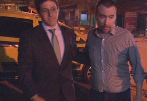 Kevin Mallon (right) as he is released from Bangu prison. Photo: Ray Kennedy, RTE News