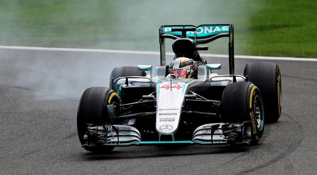 Mercedes' Lewis Hamilton of Britain drives during the Belgian F1 Grand Prix. REUTERS/Yves Herman