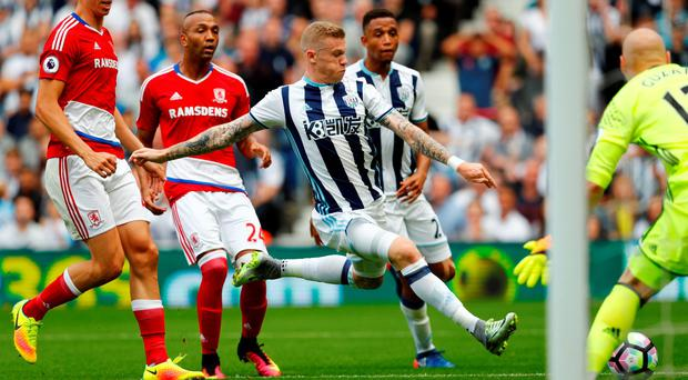 Middlesbrough's Brad Guzan saves from West Bromwich Albion's James McClean Reuters / Eddie Keogh