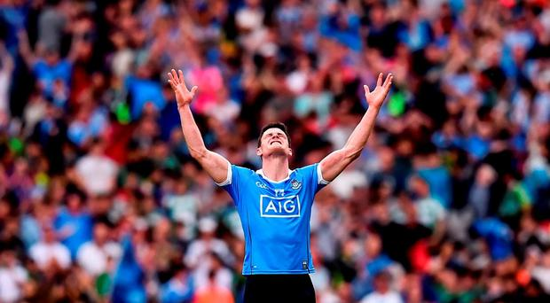 Diarmuid Connolly of Dublin celebrates at the final whistle during the GAA Football All-Ireland Senior Championship Semi-Final match between Dublin and Kerry at Croke Park in Dublin. Photo by Stephen McCarthy/Sportsfile