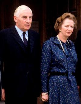 Frosty relationship: Peter Barry and Margaret Thatcher. Photo: PA Wire