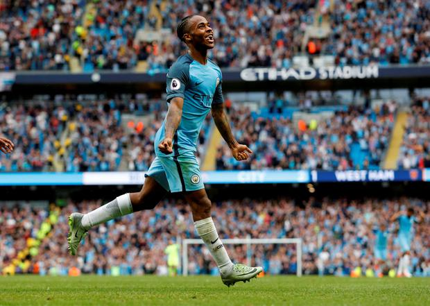 Manchester City's Raheem Sterling celebrates. Photo: Reuters