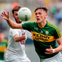 Kerry's David Clifford beats Kildare's John O'Toole to the ball during yesterday's All-Ireland MFC semi-final. Photo: Sportsfile