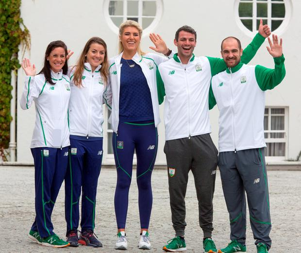 Members of The Irish Olympics Team (FROM LEFT) Breege Connolly, Athletics, Ciara Everard, Athletics, Saskia Tidey, Sailing, Tom Barr, Athletics and Scott Evans, Badminton, pictured during an official visit to Aras An Uachtarain. Photo: Colin O'Riordan