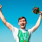 Paul O'Donovan of Ireland celebrates after winning the Lightweight Men's Single Sculls Final at the 2016 World Rowing Championships. Photo: Sportsfile