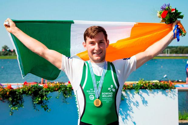 Paul O'Donovan celebrates after winning the Lightweight Mens Single Sculls Final at the 2016 World Rowing Championships at the Willem-Alexanderbaan Rowing Venue in Rotterdam, Netherlands. Photo Herman Dingler / Sportsfile / ANP Orange Pictures