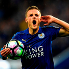 Jamie Vardy of Leicester City celebrates scoring his sides first goal. Photo: Getty