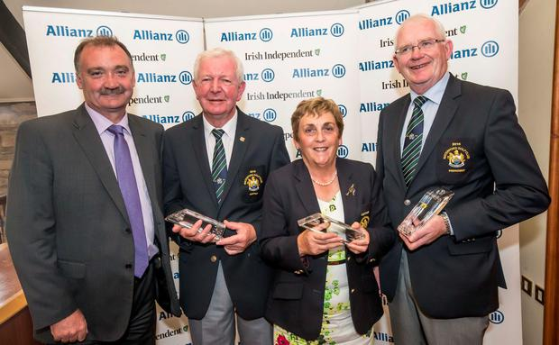 Third: Waterford captain Gerry O'Keeffe, lady captain Assumpta O'Mahony and president Peter Finnegan with Gerry O'Toole of Allianz. Photo: Pat Moore.