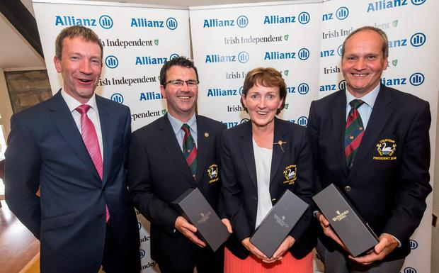 Fourth: Courtown captain Pat Walsh, lady captain Eileen Cullen and president Michael Carty with Anthony Shannon of Allianz. Photo: Pat Moore.
