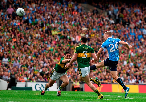 Eoghan O'Gara kicks the point that put Dublin into the lead in injury time. Photo: Sportsfile