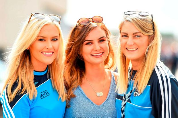 Dublin fans Fiona Hegarty, left, Aisling Ryan, centre, and Clodagh Butler from Clonsilla. Photo: Sportsfile