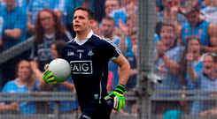 But sloppiness was banished with a devastating display from then until half-time when they scored two goals with the help of Stephen Cluxton (pictured). Photo: Sportsfile