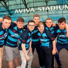 Liberty Saints players Aaron Crowe, Jack Condon, Conor Fitzpatrick, Andy Ciobianu, Evan Lynch, Josh Martin, and Nathan Martin at the Rugby Generation X conference. Photo: Iain White