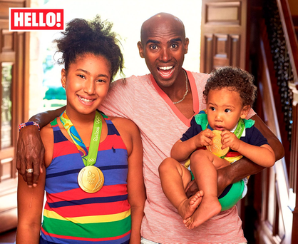 Olympic Gold medalist Mo Farah with daughter Rihanna and son Hussein at the athlete's home in Portland, Oregon, in the USA, as they appear in this week's edition of Hello! Photo: Hello!/PA Wire