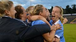 27 August 2016; Sorcha Furlong of Dublin, right, celebrates with her team-mates after the TG4 Ladies Football All-Ireland Senior Championship Semi-Final game between Dublin and Mayo at Kingspan Breffni Park in Cavan. Photo by Piaras Ó Mídheach/Sportsfile
