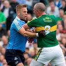 Dublins Johnny Cooper and Kerry's Kieran Donaghy tangle during the All Ireland Semi-Final in Croke Park.
